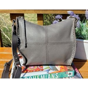 The Sak Vintage Gray Leather Stud Crossbody Bag